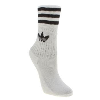 Adidas White & Black Kids Solid Crew 3 Pack Socks