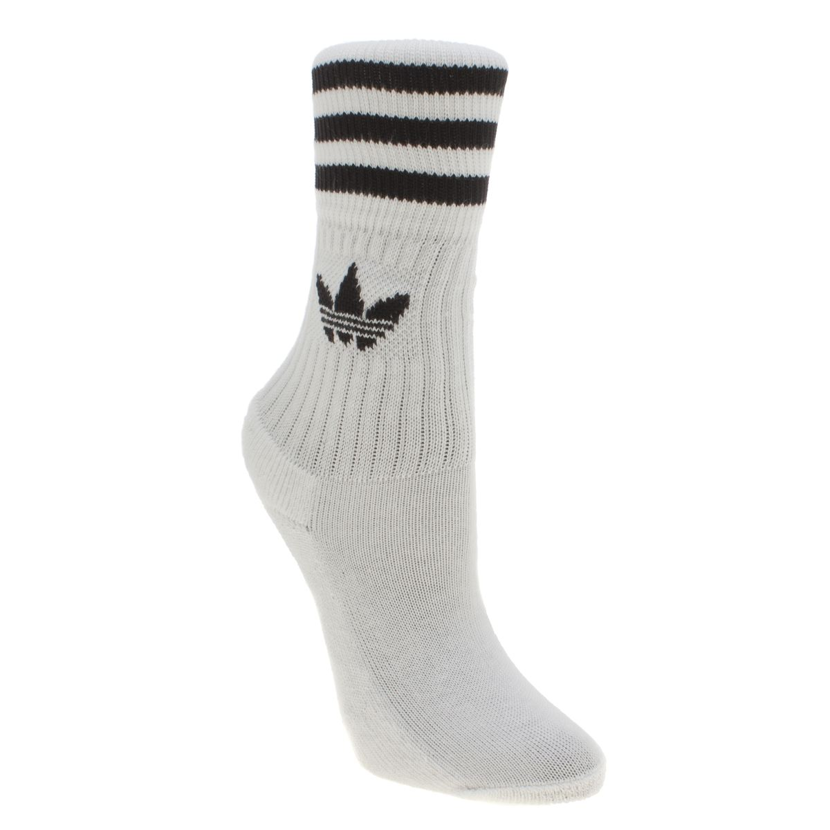 adidas white & black kids solid crew 3 pack