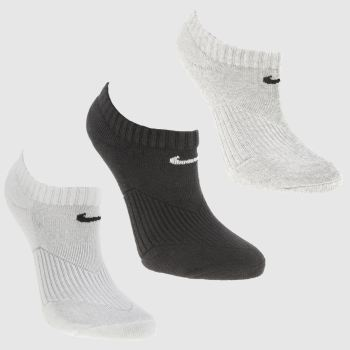 Nike White & Black Kids Quarter Sock 3pk Socks