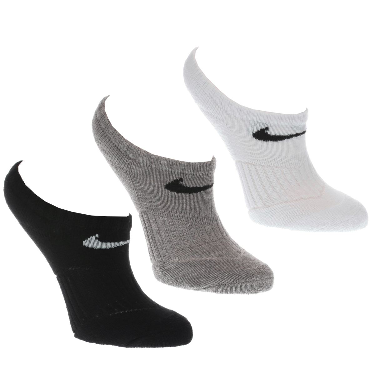nike white & black kids no show sock 3pk