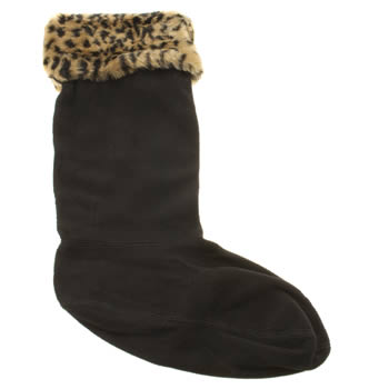 Hunter Black & Brown Fleece Leopard Socks