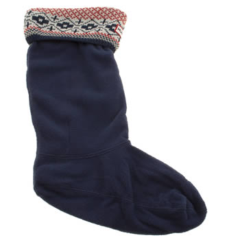 Hunter Navy & Red Fairisle Cuff Welly Socks