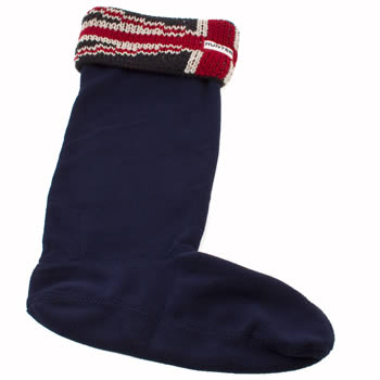 Hunter Navy & Red Brit Cuff Welly Socks