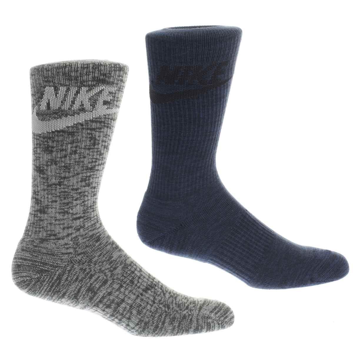 nike navy & grey advance crew socks