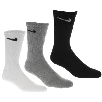 Nike White & Black Cotton Cushion 3 Pack Socks