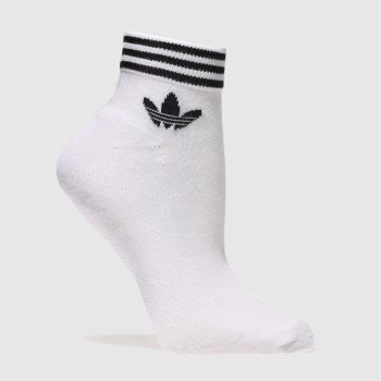 Adidas White Trefoil Ankle Sock 3 Pack Socks