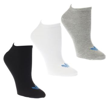 Adidas White & Black TREFOIL LINER 3 PACK Socks