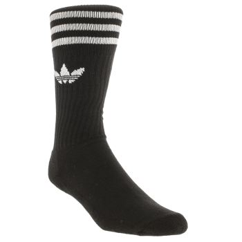 Adidas Black Solid Crew 3 Pack Socks