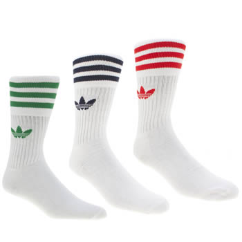 Adidas White Solid Crew 3 Pack Socks