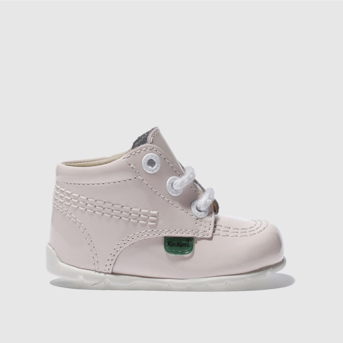 kickers pale pink hi patent lace Girls Baby Boots