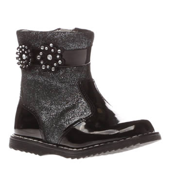 Lelli Kelly Black & Silver Linda Boot Girls Toddler