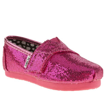 Girls Toms Pink Classic Glitter Girls Baby