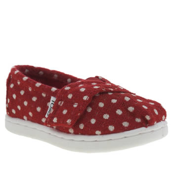 Girls Toms White & Red Seasonal Classics Girls Toddler
