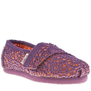 Toms Purple Classic Crochet Girls Toddler
