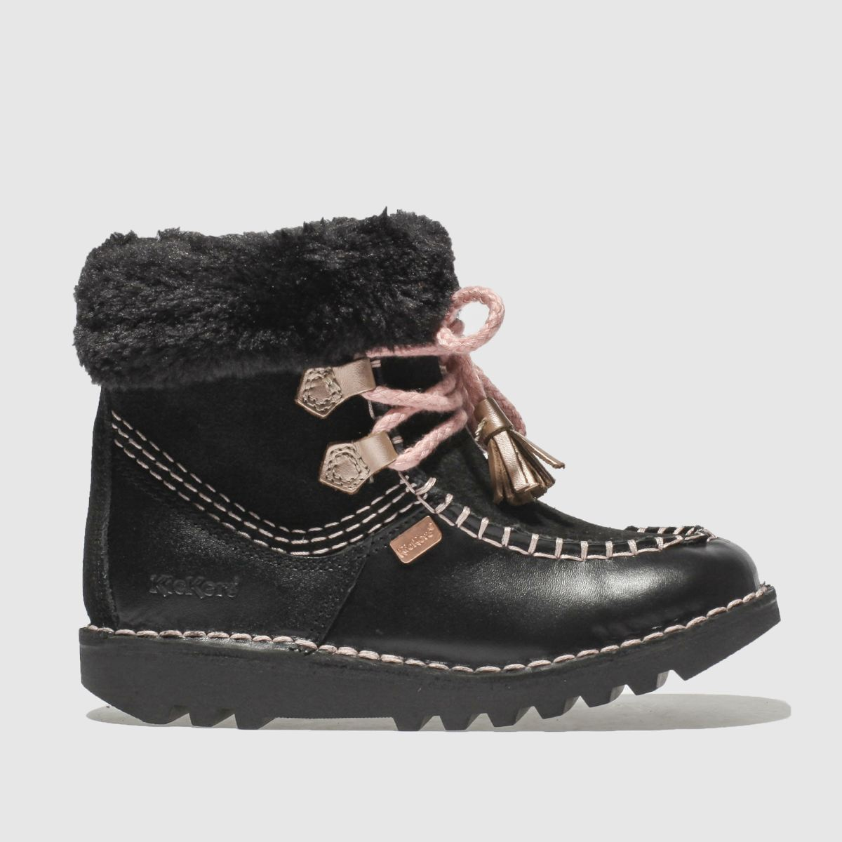 Kickers Black & Pink Fur Wallee Boots Toddler