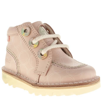 Kickers Pale Pink Zippy Lace Girls Toddler