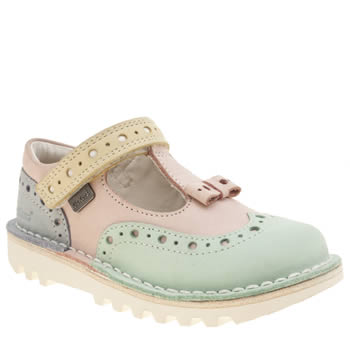 Kickers Multi T Brogue Bow Tri Tone Girls Toddler