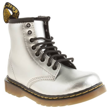 kids dr martens silver & black brooklee lace boots