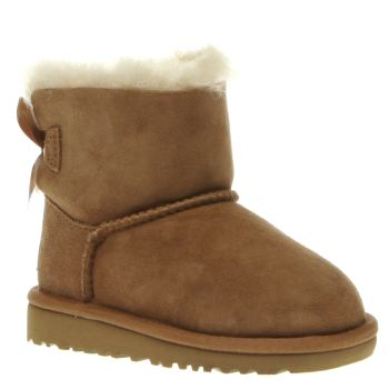 Ugg Australia Tan Mini Bailey Bow Girls Toddler
