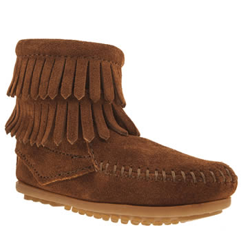 kids minnetonka  brown double fringed side zip boots