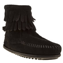 Toddler Black Minnetonka Double Fringed Side Zip
