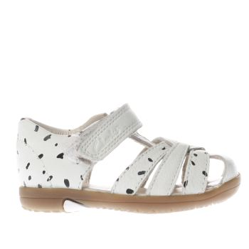 Clarks White & Black Softly Mae Girls Toddler