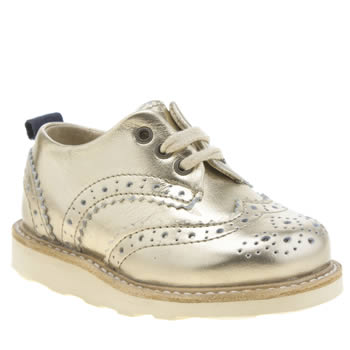 Young Soles Gold Brando Brogue Girls Toddler