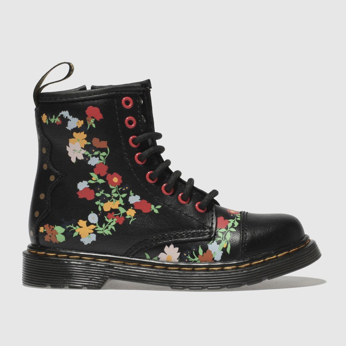 Dr Martens Black & Red 1460 Pooch Flower Boots Junior