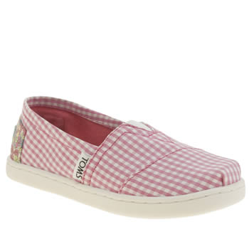 Girls Toms White & Pink Seasonal Classic Girls Junior