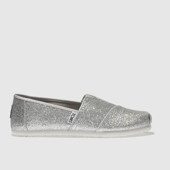 Girls Toms Silver Classic Glitters Girls Junior