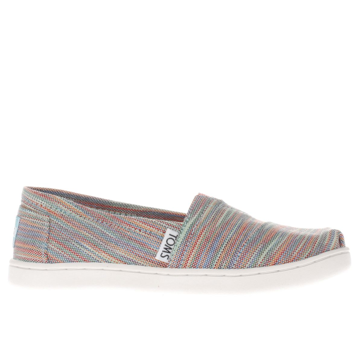 toms pink & green classic Girls Junior Shoes