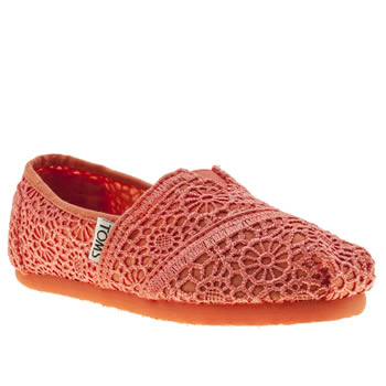 Girls Toms Peach Classic Crochet Girls Junior