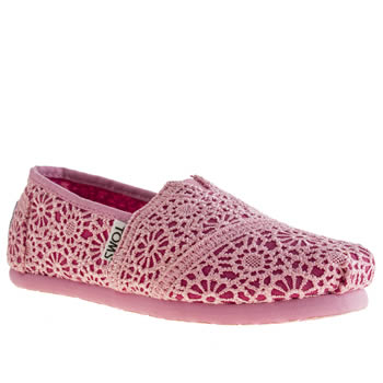 Girls Toms Pink Classic Crochet Girls Junior