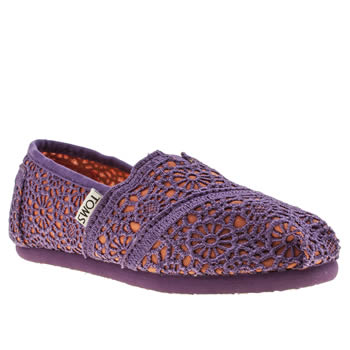 Girls Toms Purple Classic Crochet Girls Junior