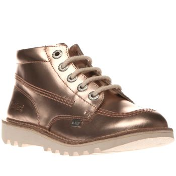 KICKERS ROSE GOLD KICK HI LEATHER GIRLS JUNIOR BOOTS