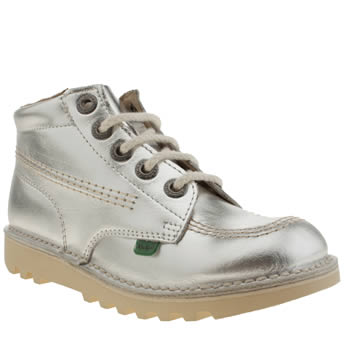 Kickers Silver Kick Hi Lace Girls Junior