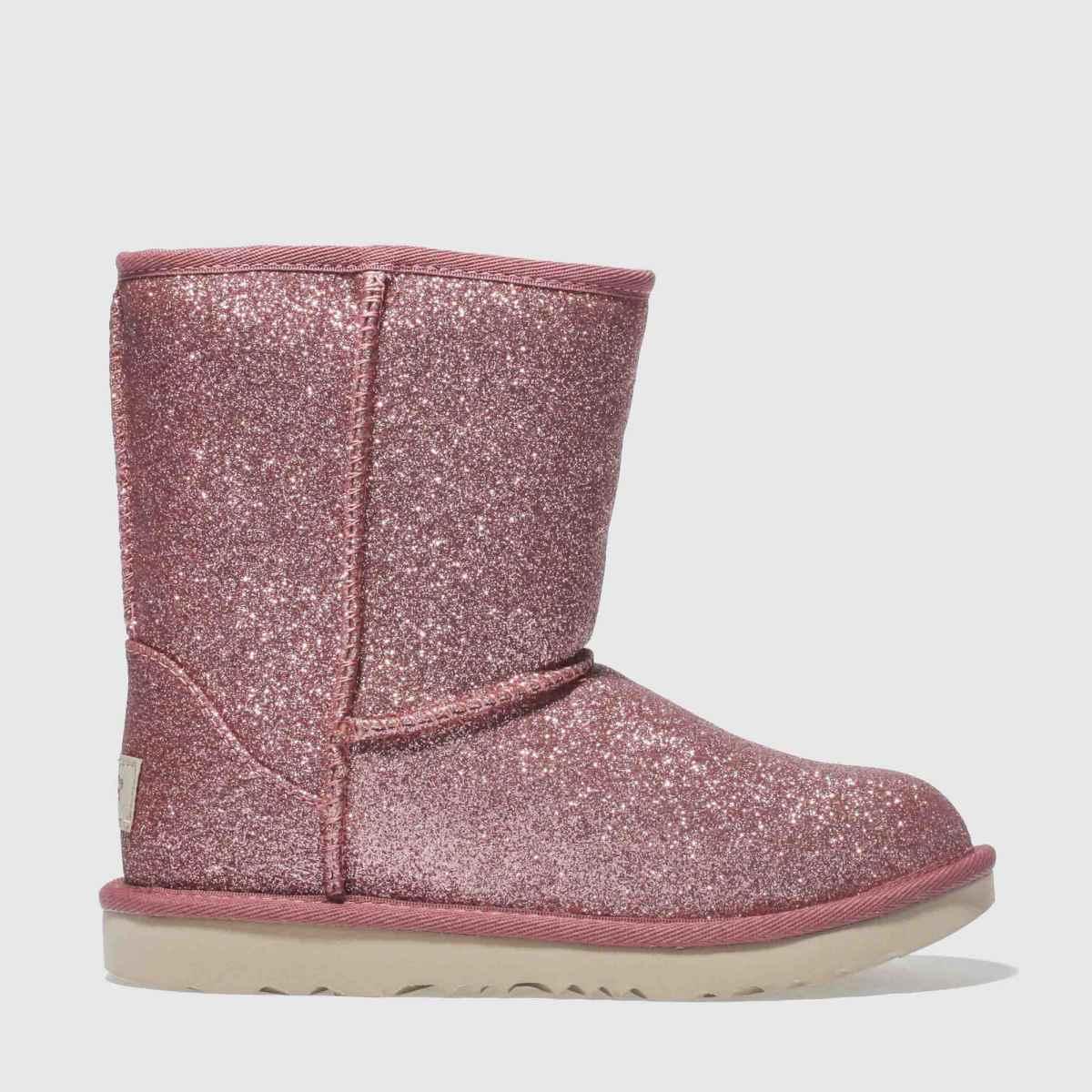 Ugg Pink Classic Short Ii Glitter Boots Junior