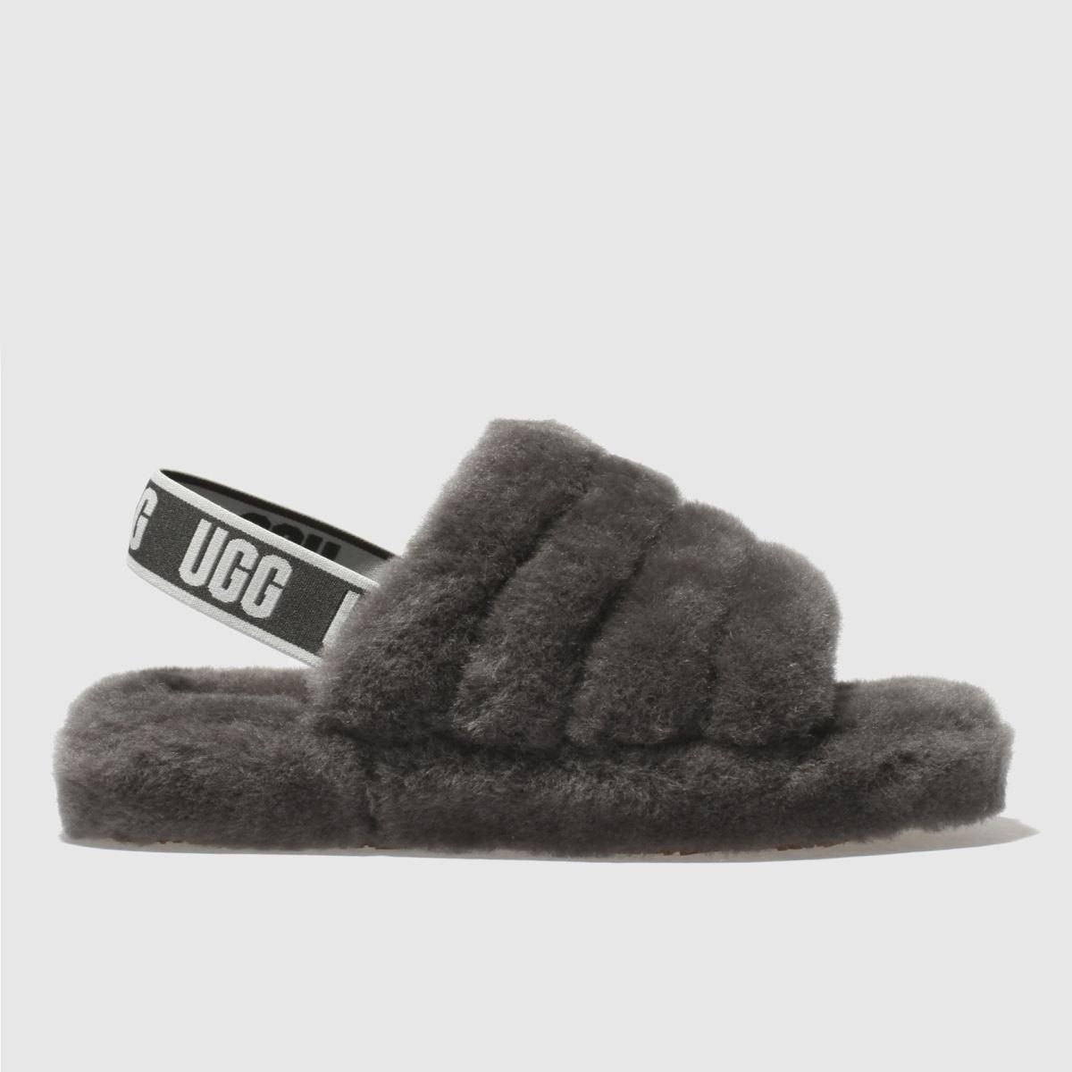Ugg Grey Fluff Yeah Slide Girls Junior Junior