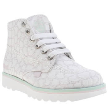 Kickers White Kick Lite Love Hearts Girls Junior