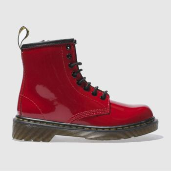 Girls Dr Martens Red Delaney Boot Patent Girls Junior