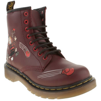 kids dr martens burgundy delaney boot minnie boots