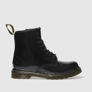 Dr Martens Black Delaney Lace Boot Patent Girls Junior