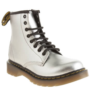 kids dr martens silver & black delaney lace boots