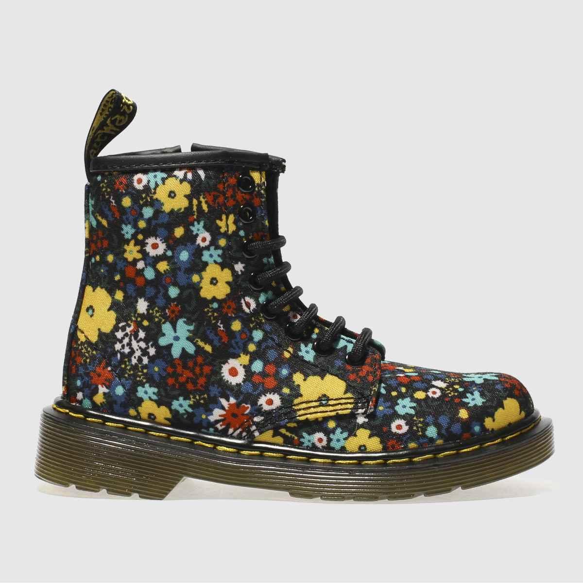Dr Martens Black & Yellow 1460 Wanderflora Girls Junior Boots