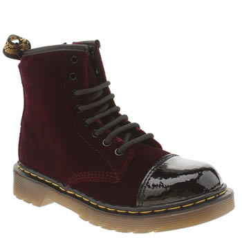 Dr Martens Burgundy Pooch Lace Boot Girls Junior