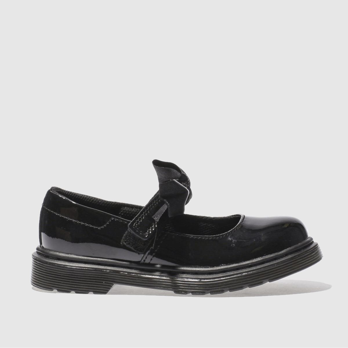 dr martens black maccy Girls Junior Shoes