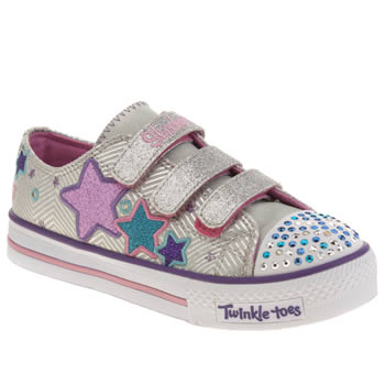 Girls Skechers Silver Triple Up Girls Junior