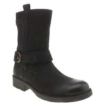 Hush Puppies Black Harley Girls Junior