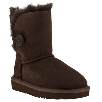 Girls Ugg Australia Dark Brown Bailey Button Girls Junior