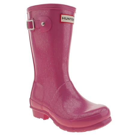 Girls Pink Hunter Original Glitter Junior Boots | schuh